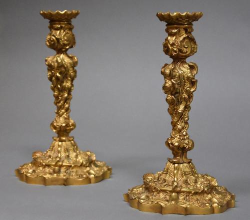Pair of Rococo style ormolu candlesticks
