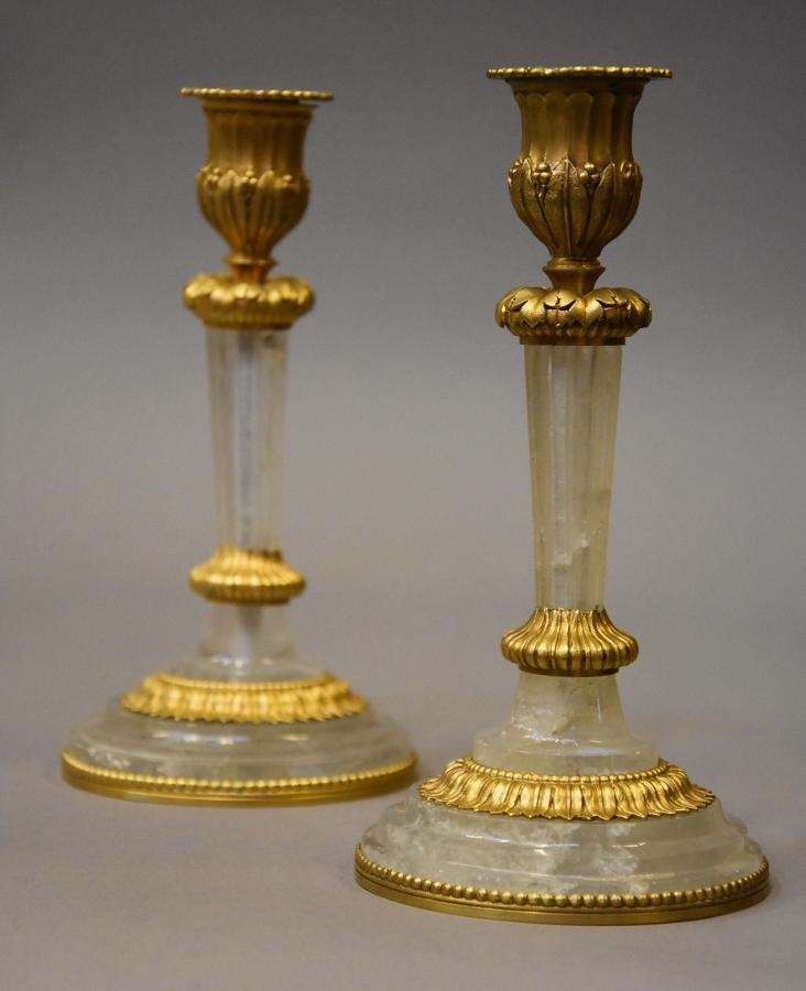Pair of rock crystal & ormolu candlesticks