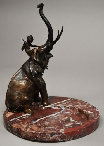 Superb 19thc bronze elephant by Franz Bergman