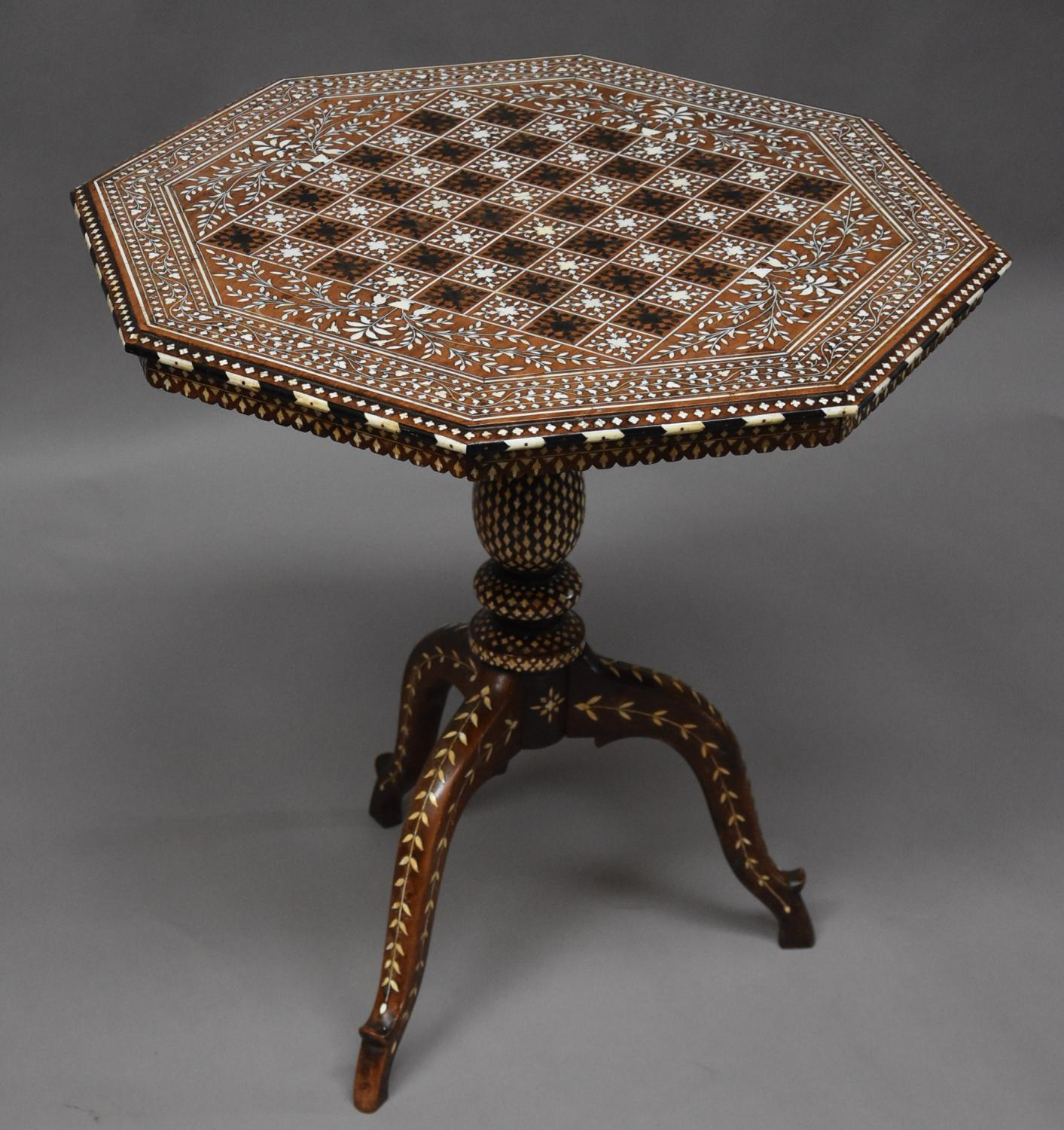 Superb Anglo Indian octagonal inlaid table