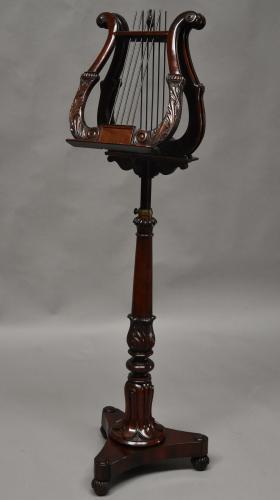 Superb mahogany Regency lyre duet stand