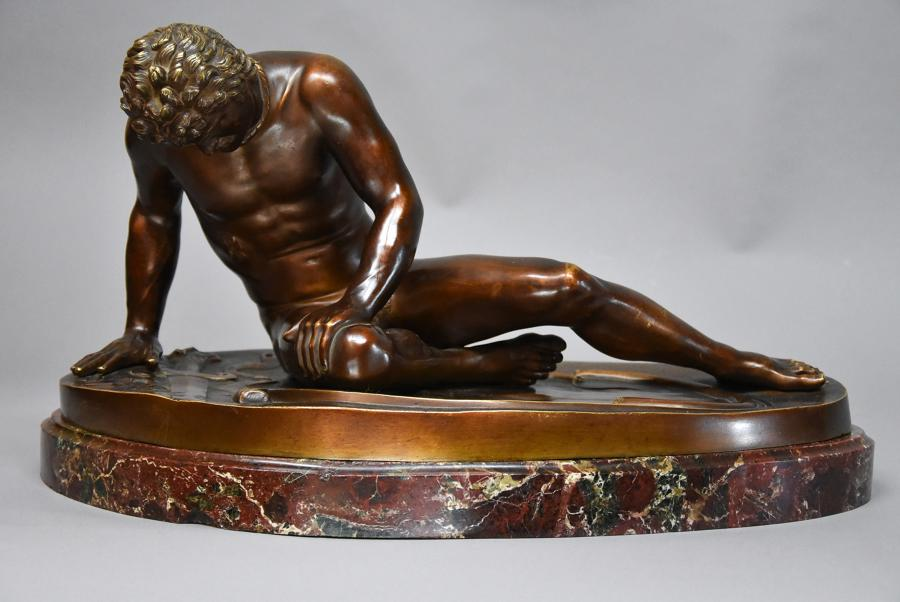 Large late 19thc bronze of 'The Dying Gaul'