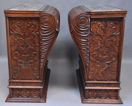 Large pair of decorative walnut pedestals