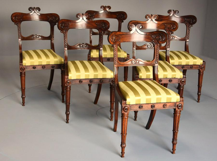Set of six Regency rosewood dining chairs