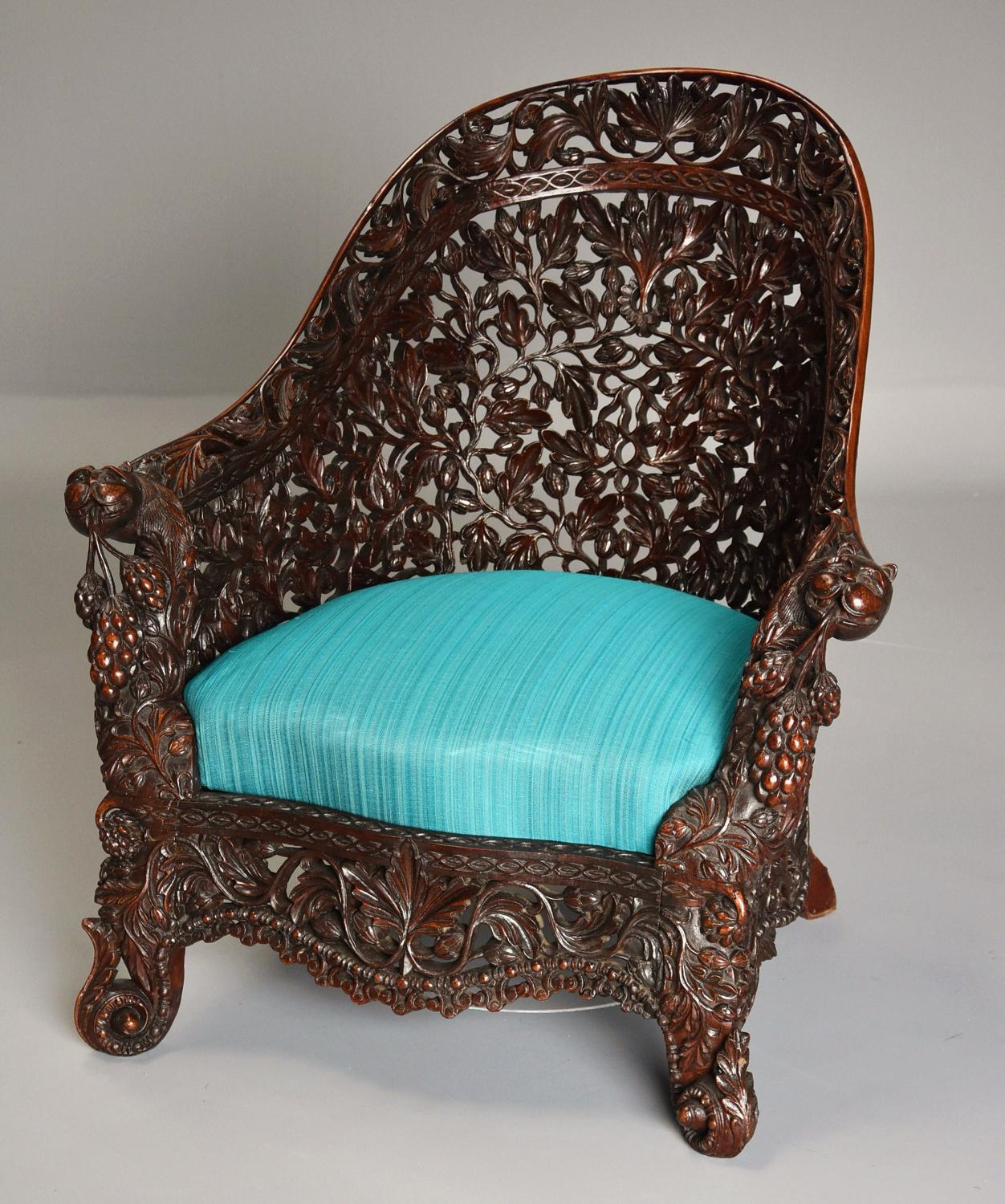 Rare & superb quality carved Indian armchair
