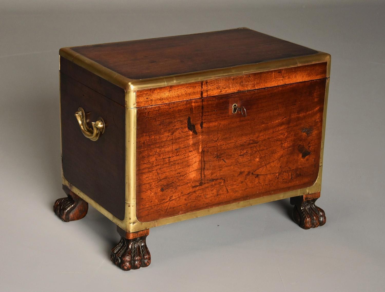 Rare teak & brass bound Campaign cellarette