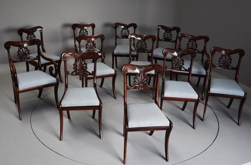 Superb set of twelve Regency dining chairs