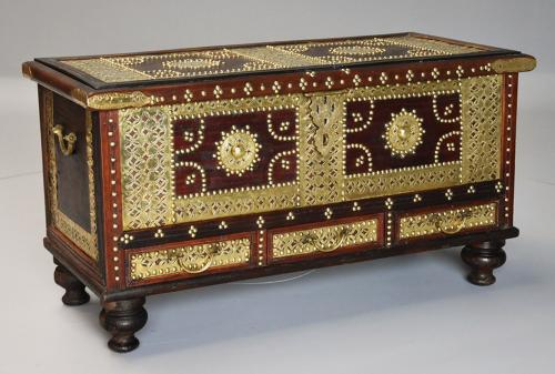 19thc highly decorative Zanzibar trader chest