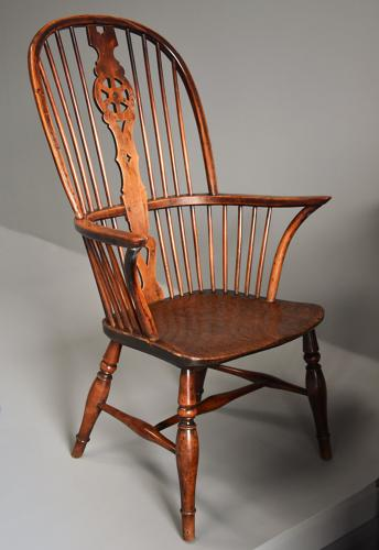 19thc fruitwood high back Windsor armchair
