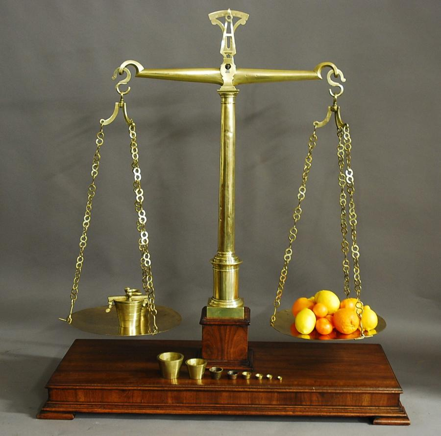 Large pair of late 19thc brass apothecary scales