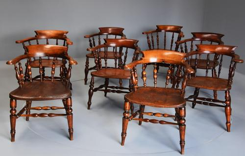 Matched set of eight 19thc Smokers bow chairs