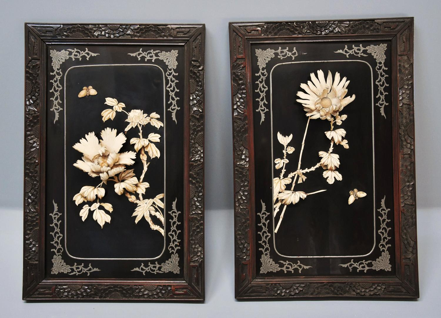 Pair of lacquered Japanese panels