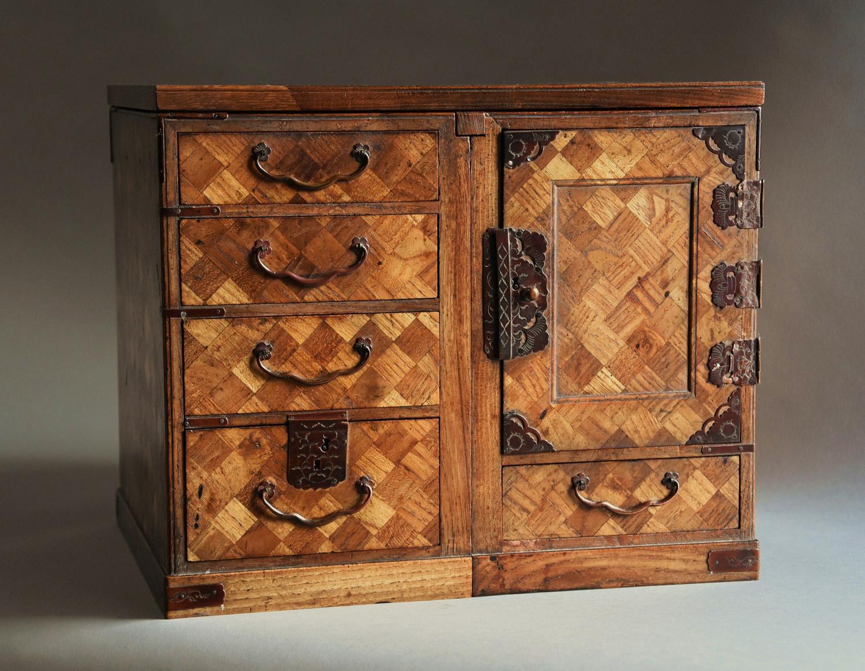 Japanese Meiji parquetry scholars box