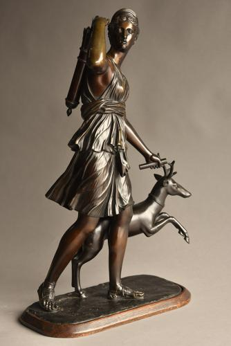 19thc bronze figure 'Diana of Versailles'