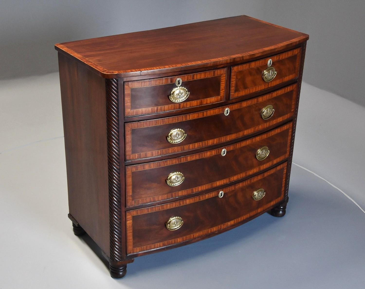 Mahogany & satinwood banded chest of drawers