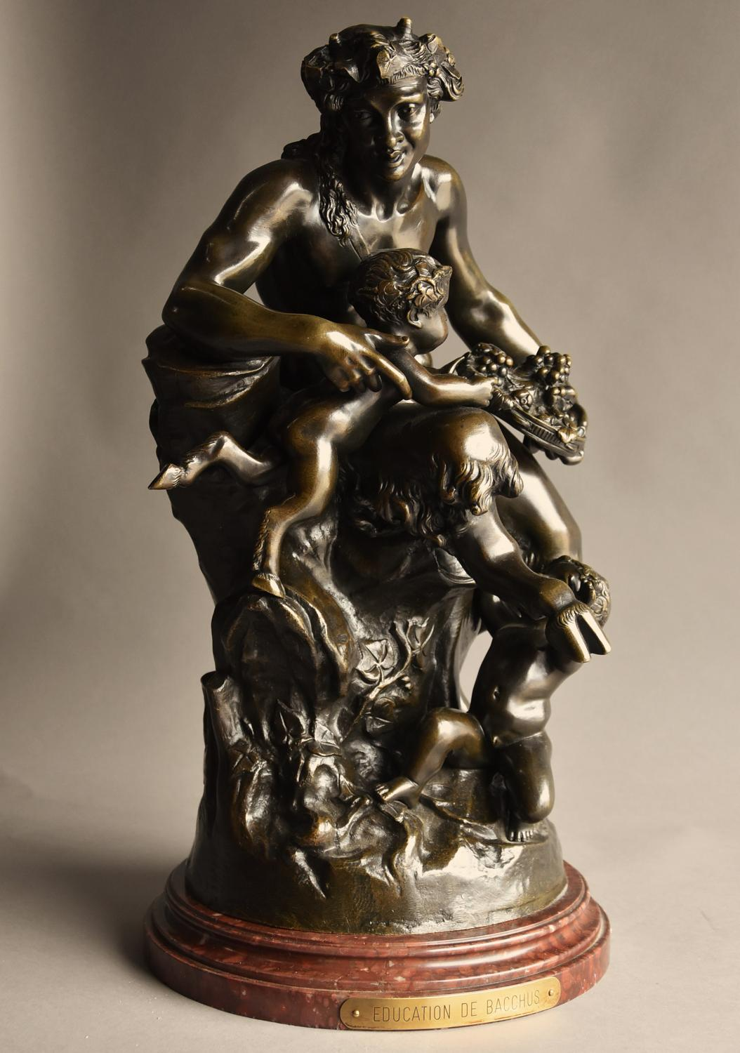 Large mid 19thc bronze Satyr and faun group