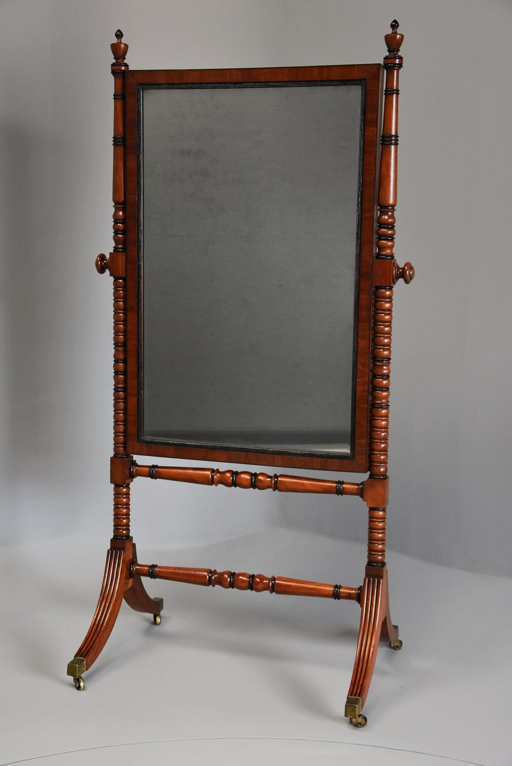 Early 19thc Regency mahogany cheval mirror