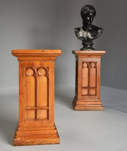 Pair of 19thc pedestals in the Gothic style