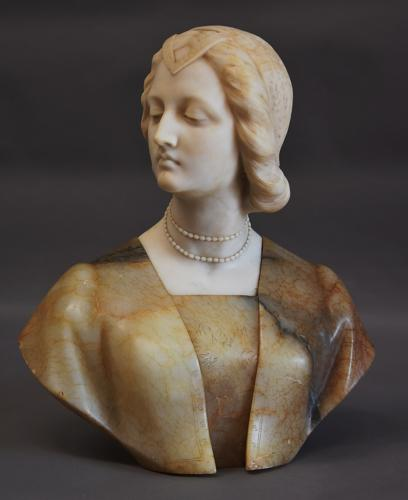19thc Italian marble bust of a Noblewoman
