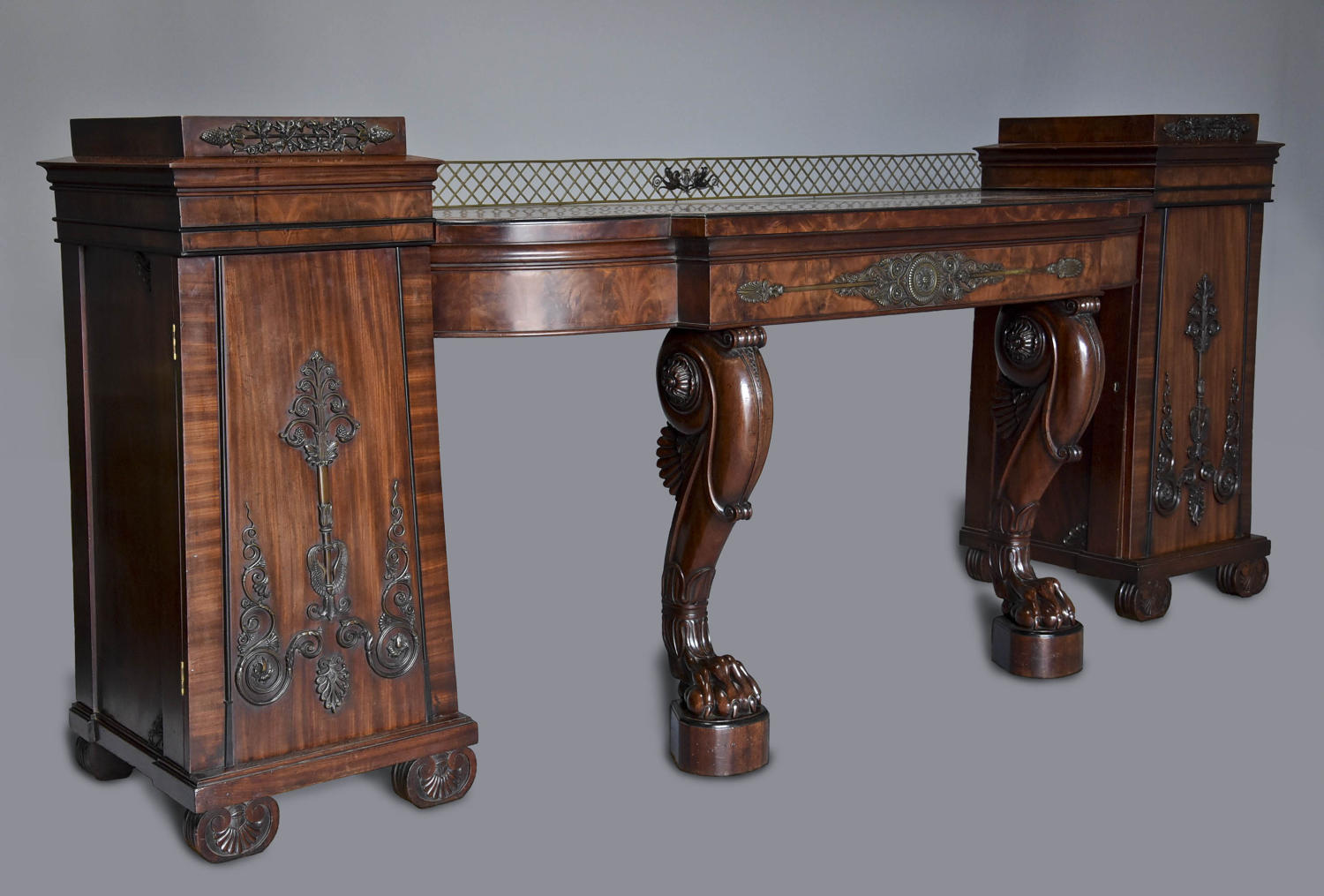 A superb Regency mahogany pedestal sideboard with excellent patina
