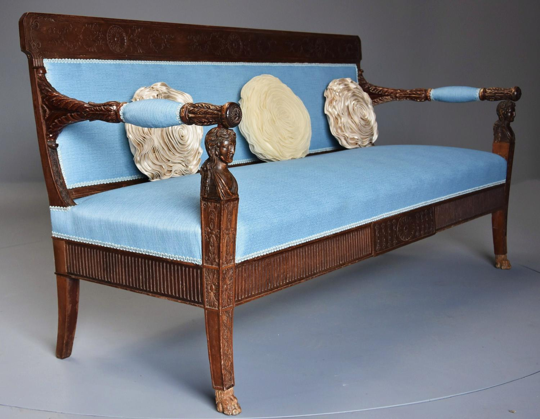 Rare 18thc walnut Neoclassical Italian sofa