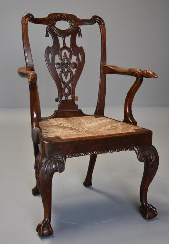 18th century mahogany & walnut armchair of sophisticated design