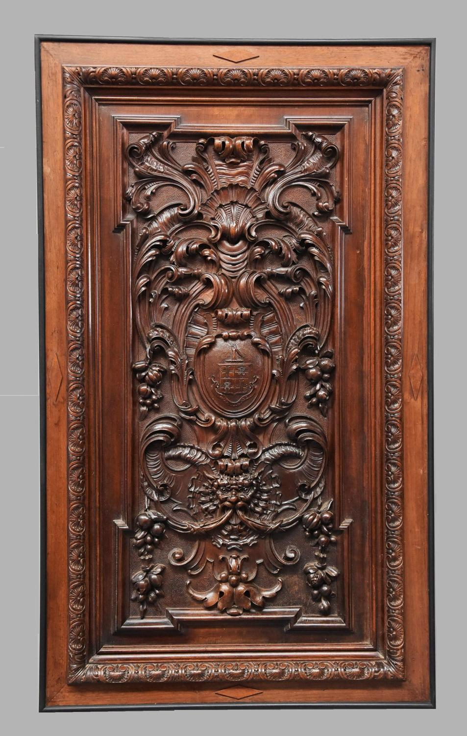 French late 19th century carved walnut panel