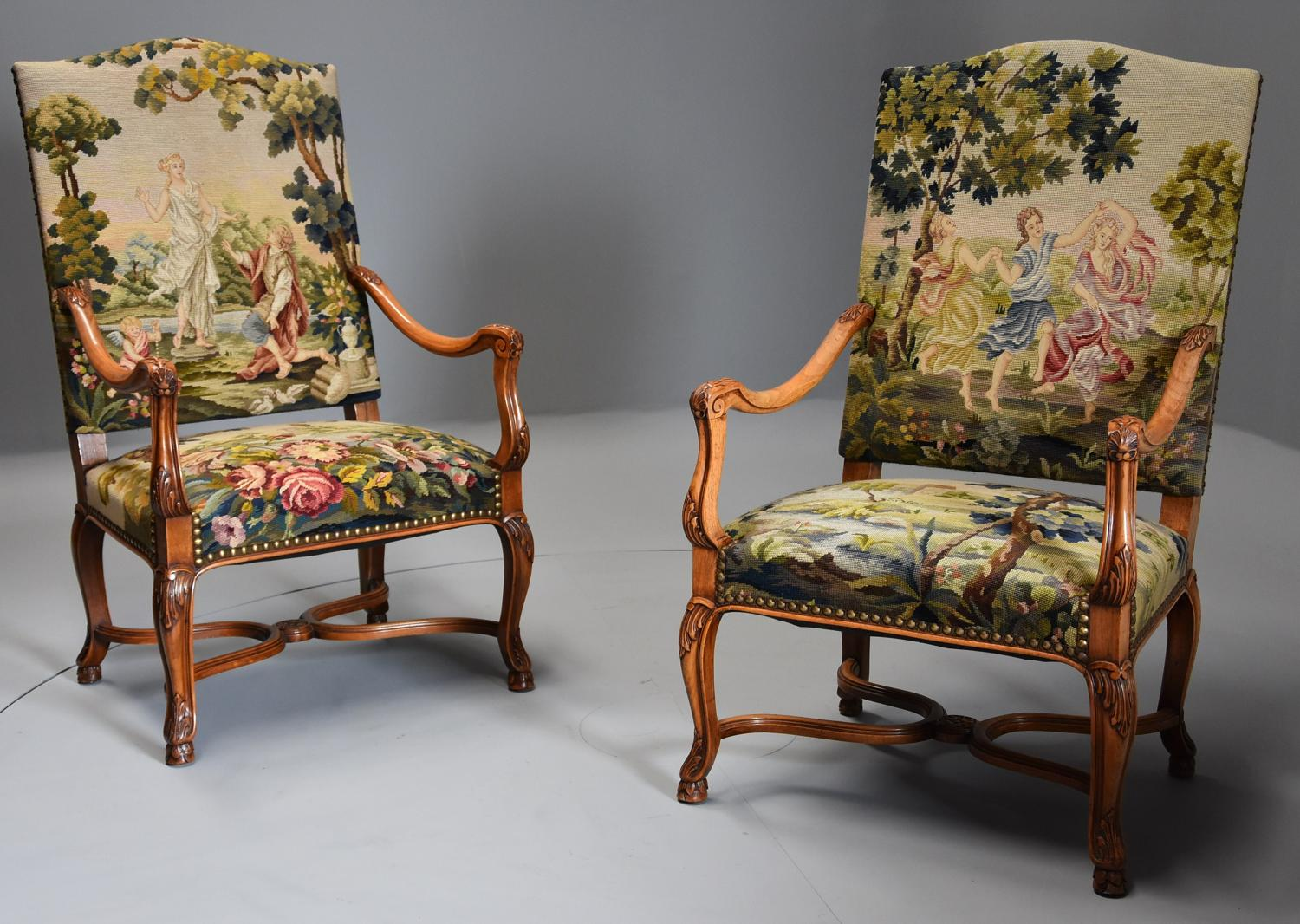 Pair of 19thc French walnut open armchairs with tapestry upholstery
