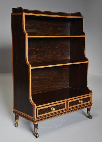 Early 19th century Regency simulated rosewood waterfall bookcase
