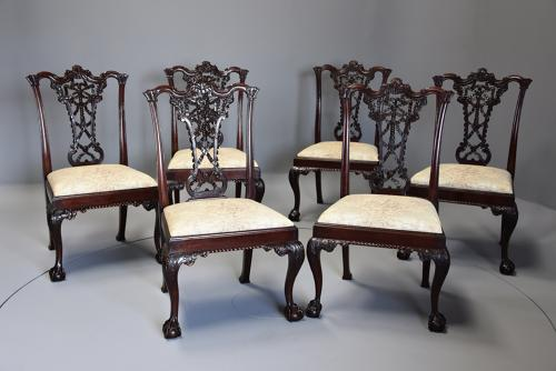 Set of six mahogany ribbon back chairs in the Chippendale style