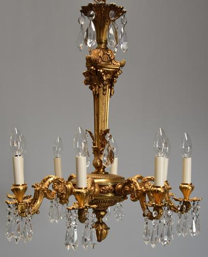 Fine quality French eight branch ormolu and cut glass chandelier