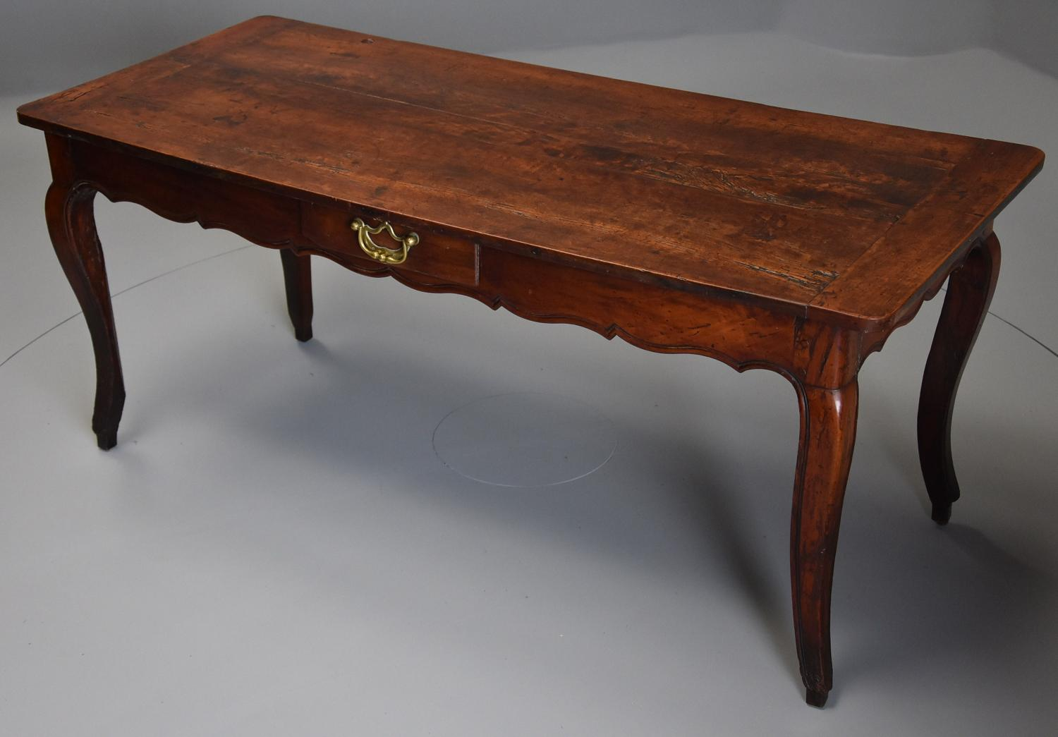 18th century French fruitwood farmhouse table with superb patina