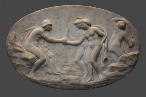 18th century carrara marble oval plaque of a Classical scene