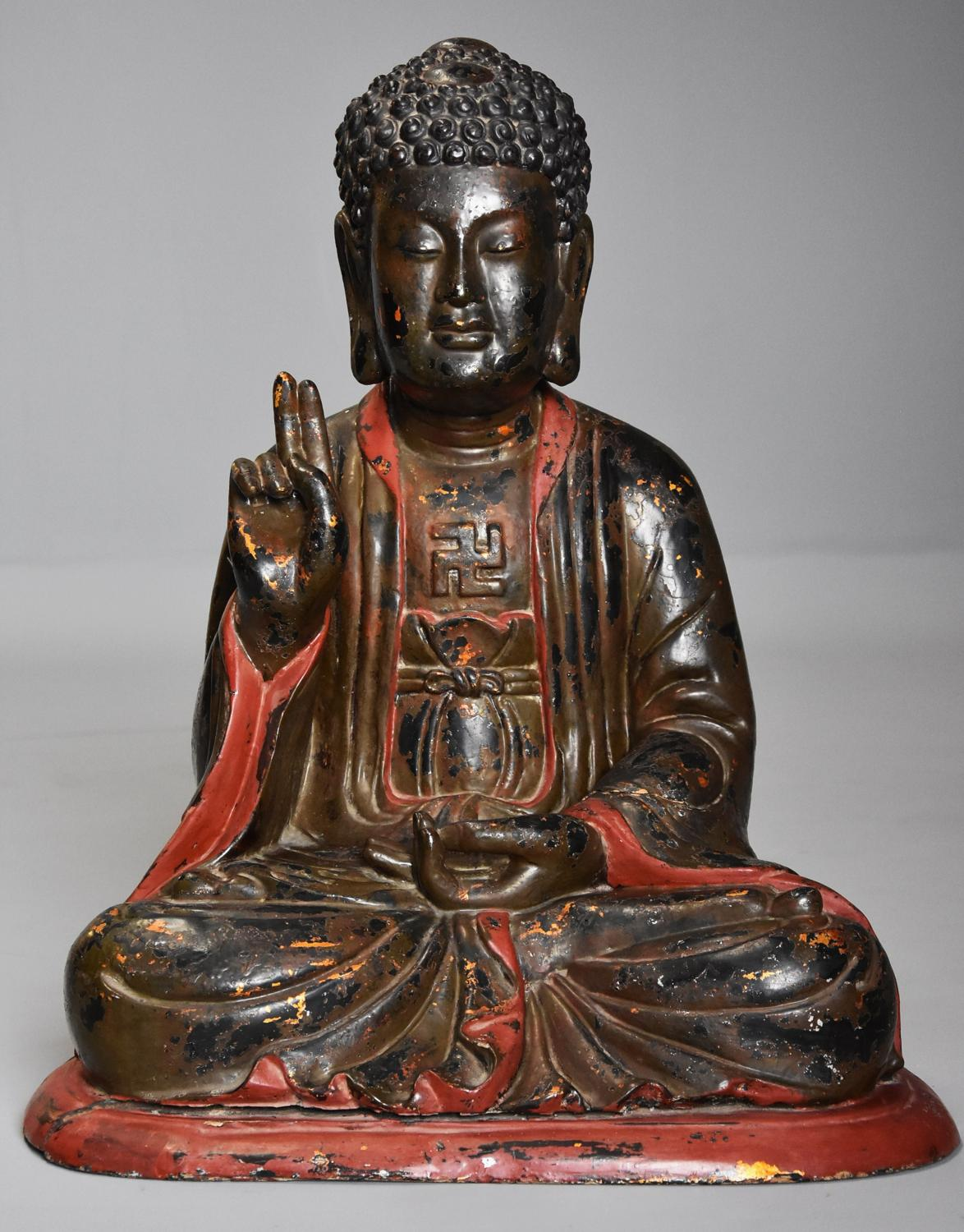 Highly decorative 19thc Vietnamese carved wooden polychrome Buddha