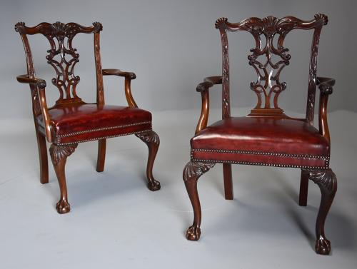 Pair of superb mahogany open armchairs in the Chippendale style