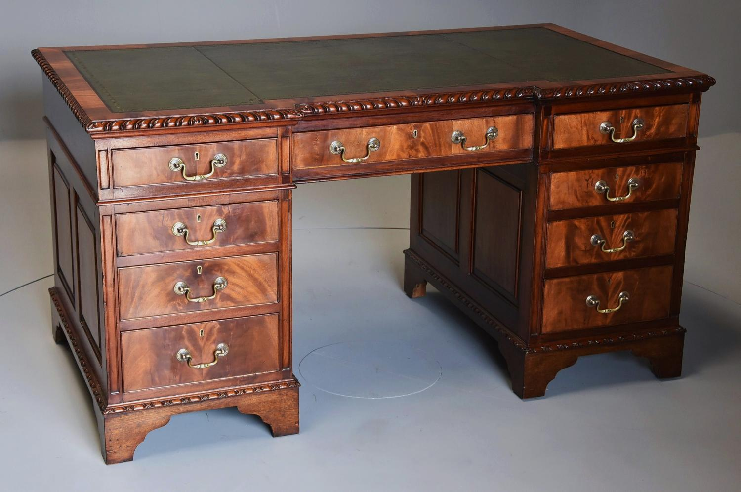 Early 20th century mahogany pedestal desk