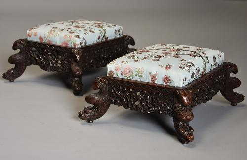 Pair of Anglo Indian footstools