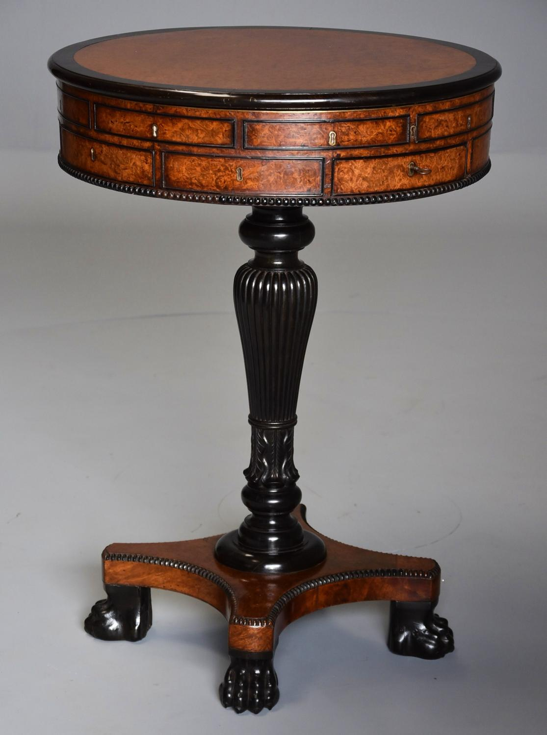 Rare 19thc Anglo Chinese amboyna & macassar ebony work table