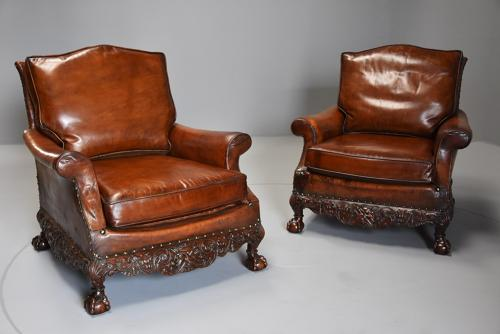 Superb pair of mahogany framed leather armchairs