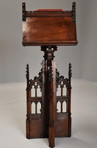 Late 19th century oak Gothic revival revolving lectern