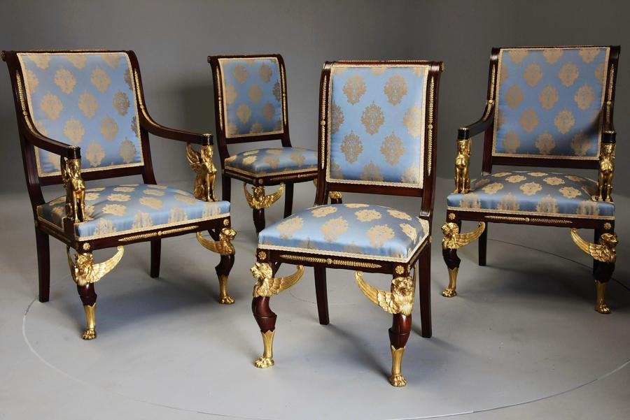 19thc English set of four mahogany chairs in the French Empire style