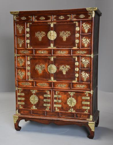 19th century three tier Korean elm cabinet with brass decoration