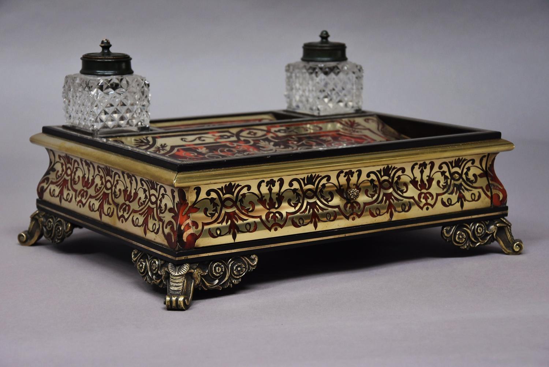 19thc French Napoleon III tortoiseshell & brass inkstand/desk stand