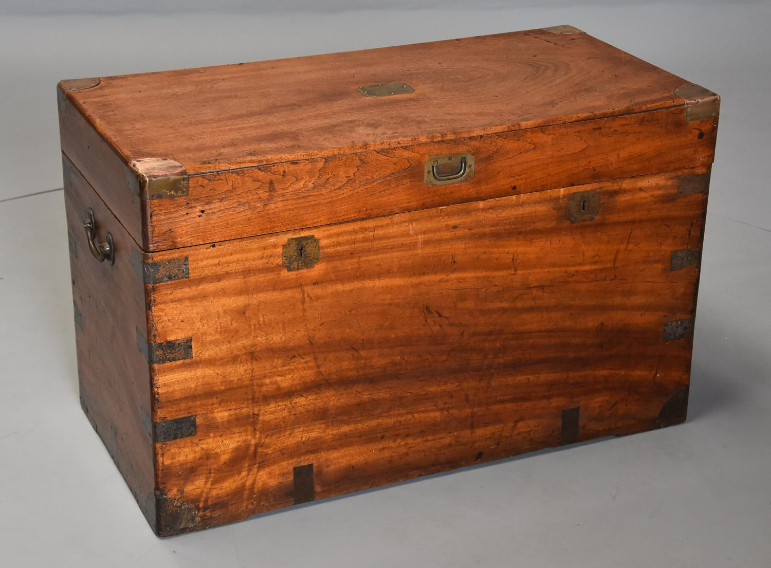 19th century military camphor wood travelling trunk of good patina