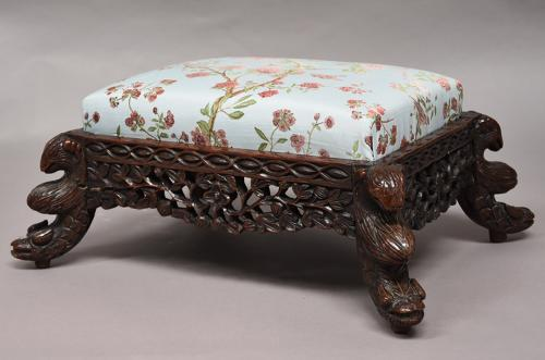 19th century hardwood Anglo Indian footstool