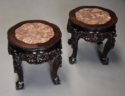Pair of late 19th century Chinese pot stands or low tables