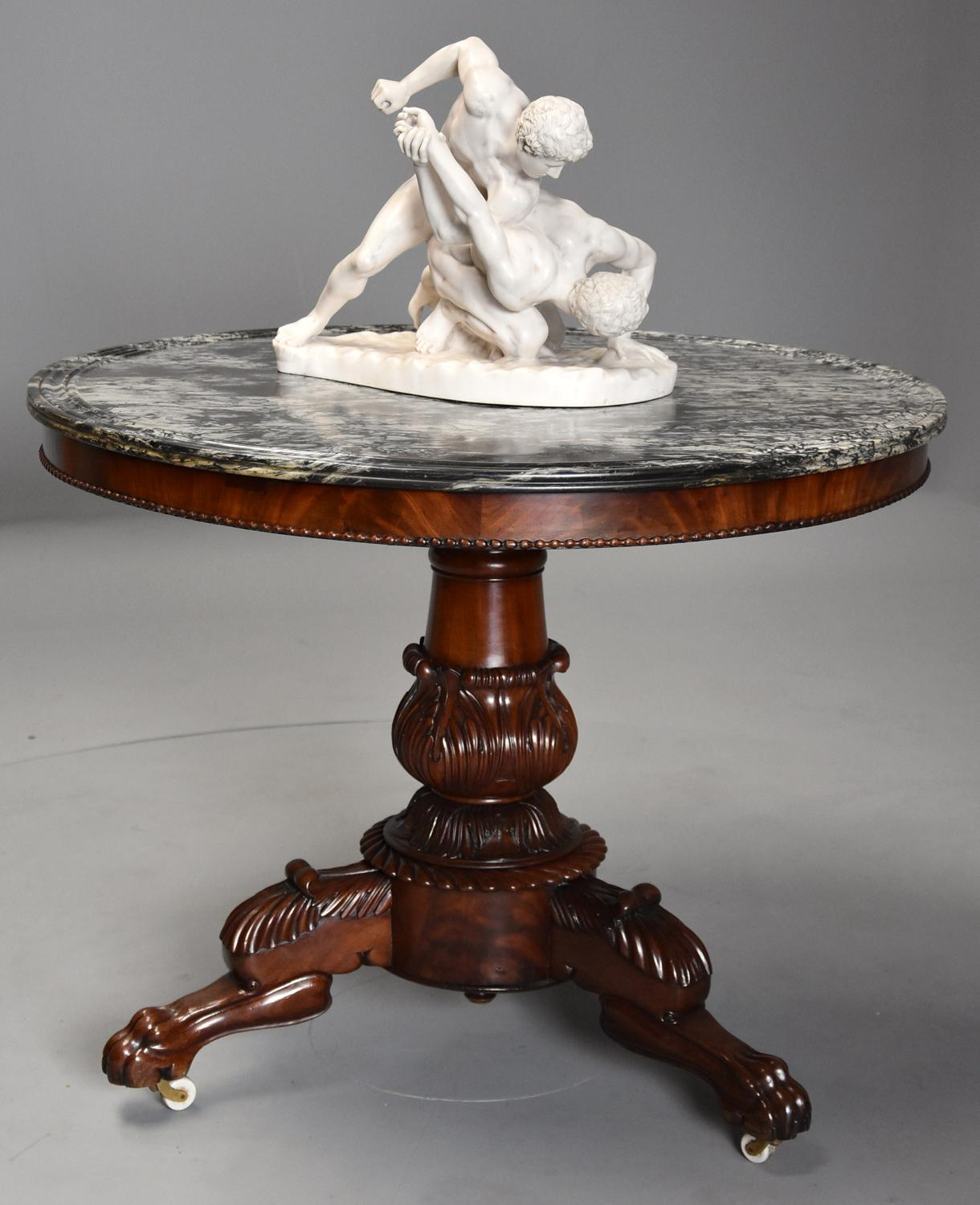 19th century French mahogany Gueridon table with original marble top