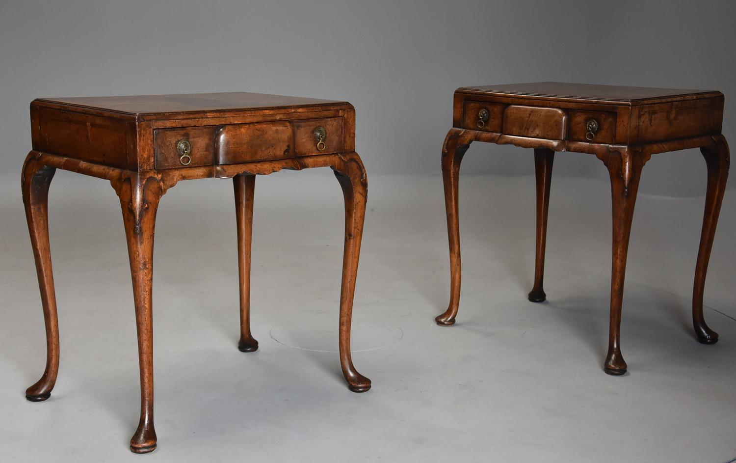 Pair of early 20th century Queen Anne style freestanding walnut tables