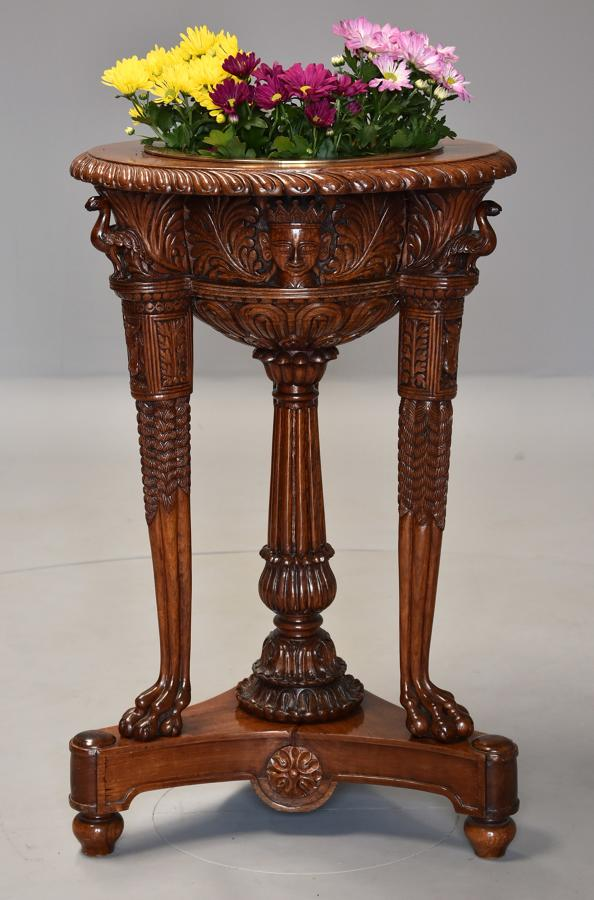 Late 19thc Indian padouk carved jardiniere/wine cooler