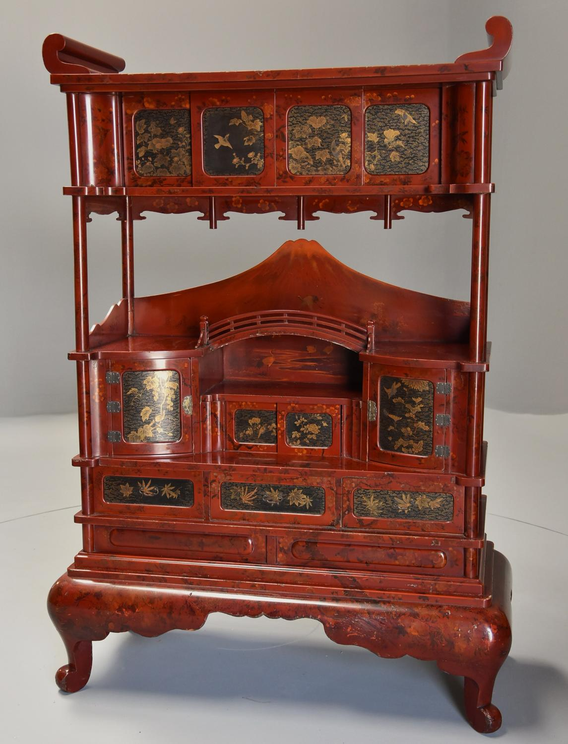 Early 20th century Japanese red lacquered shodana (cabinet)